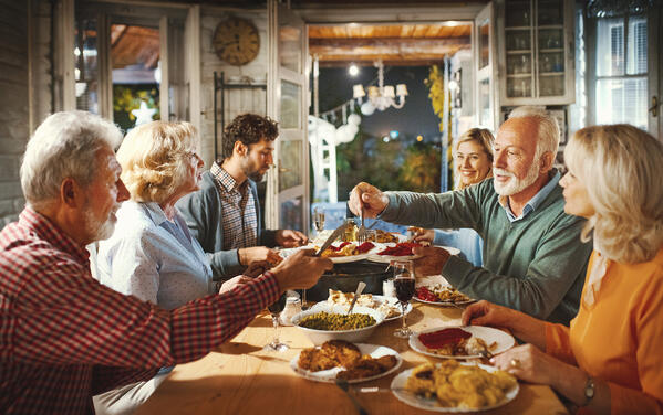 Family having dinner on Christmas eve