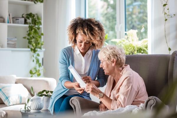 Home nurse taking care of parkinsons patient